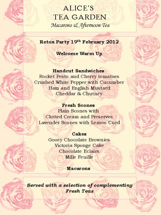 February Afternoon Tea Party Menu